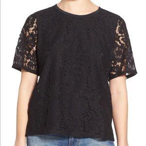 MADEWELL Black lace short sleeve tee, sheer back